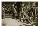 Peasants Flinging Down their Ploughshares at Feet of Henry I, Illustration Giclee Print by Alfred Pearse