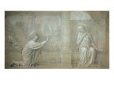 The Annunciation, Preparatory Cartoon for the Cappella Raffo fresco in Misericordia Cemetery, Siena Giclee Print by Alessandro Franchi