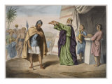 Melchizedek Blessing Abraham, Illustration from a Catechism 'L'Histoire Sainte' Lámina giclée
