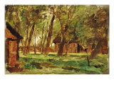 Farmstead under Trees Giclee Print by Thomas Ludwig Herbst