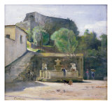 At the Fountain, Italy Giclee Print by Carl Holsoe