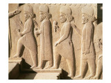Relief Depicting Median Guards from the Stairs of Triplyon Hall, Achaemenian Period Giclee Print by  Achaemenid