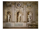 Galleria Carracci', Gilded Stuccoed Wall Decoration with Niches Containing Marble Sculpture Giclée-tryk af Annibale Carracci
