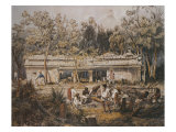 Archaeologists Catherwood and Stephens Measuring Temple of Tulum, Yucatan, Mexico Giclee Print by Frederick Catherwood