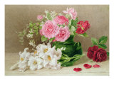 Roses and Lilies Giclee Print by Mary Elizabeth Duffield
