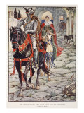 Sir Geraint and Lady Enid in Deserted Roman Town, 'Stories of Knights of Round Table' Giclee Print by Walter Crane
