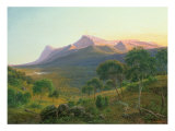 Aborigines by Fire before Mount William as seen from Mount Dryden in Grampians, Victoria, 1892 Giclee Print by Eugen von Guerard