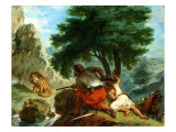 Lion Hunt in Morocco, 1854 Giclee Print by Eugene Delacroix