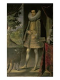 Portrait of a Gentleman with a Dog Giclee Print by Sante Peranda