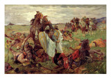 The Battle between Russians and Tatars, 1916 Giclee Print by Sergey Nikolayevich Arkhipov
