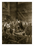 Coronation Ceremony of 1902: King Edward VII During Act of Crowning, 'The Illustrated London News' Giclee Print by Samuel Begg