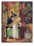 The Old Witch Combing Gerda's Hair in 'The Snow Queen', from Hans Christian Andersen's Fairy Tales Giclee Print by Lorens Frolich