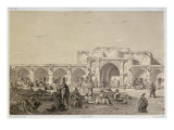 Caravanserai on the road from Isfahan to Shiraz Giclee Print by Eugene Flandin
