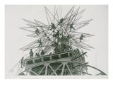 Universal Exposition of 1900: Installation of the Star on Top of the Palace of Electricity Giclee Print by Henri Lanos