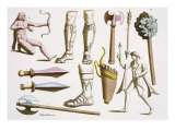 Greek Soldiers, Arms and Armour, Plate 38 from 'Le Costume Ancien et Moderne' by Jules Ferrario Giclee Print by D.k. Bonatti