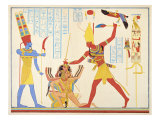 God Amun Offers Sickle Weapon to Pharaoh Ramesses III as he Strikes Two Captured Enemies Giclee Print by Jean Francois Champollion