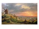 View of the Butte Montmartre, c.1830 Giclee Print by Louis Jacques Mande Daguerre