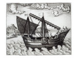 A Chinese Junk, illustration from 'His Discourse of Voyages into the East and West Indies' Giclee Print by Johannes Baptista van Doetechum