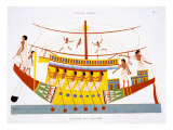 A Riverboat on the Nile, from a Rare Record of Frescoes from Thebes, recorded 1819-1822 Giclee Print by Frederic Cailliaud