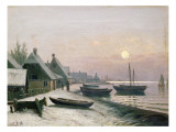Fishing Boats in the Winter Sunlight Giclee Print by Anders Andersen-Lundby