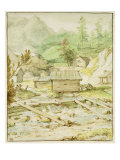 Nordic Landscape with Wooden Hut and Weir Giclee Print by Allaert Van Everdingen