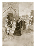 Queen Victoria's Life at Osborne: Her Majesty at Whippingham Church, 'The Illustrated London News' Reproduction procédé giclée par Amedee Forestier