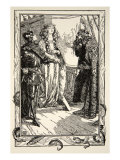 King Anguish gives Isolt to Tristram, illustration, 'Stories of King Arthur and the Round Table' Giclee Print by Dora Curtis
