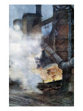 Steelworks at Chasse, Isere, 1917 Giclee Print by Francois Flameng