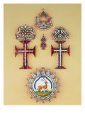 Masonic badge, Three pendant crosses of the Order of Christ, Badge of the Noble Order of Bucks Giclee Print
