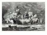 The Vanguard, under Sir William Winter, engaging the Spanish Armada, from &#39;Leisure Hour&#39;, 1888 Giclee Print by Oswald Walter Brierly
