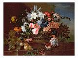 Still Life of Flowers in a Basket Giclee Print by Antoine Monnoyer