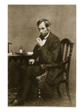 Abraham Lincoln Sitting at Desk, 1861 Giclee Print by Mathew Brady