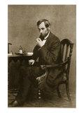 Abraham Lincoln Sitting at Desk, 1861 Giclee Print by Mathew Brady & Studio