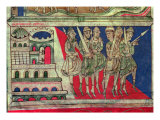 Charlemagne leaving Aachen to travel to Santiago de Compostela, miniature from 'Codice Calixtus' Giclee Print