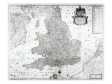 A New Map of the Kingdom of England and the Principalitie of Wales, 1669 Giclee Print by William Berry