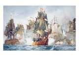Battle of the Saints, 12th April 1782 Giclee Print by Charles Edward Dixon