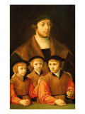 Portrait of a Man and His Three Sons, Late 1530S-Early 1540S Giclee Print by Bartholomaeus Bruyn