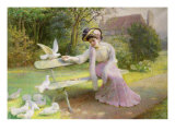Feeding the Doves Giclee Print by Edmond Alphonse Defonte