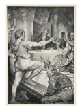 Beowulf replies haughtily to Hunferth, from 'Hero Myths and Legends of British Race' by M.I. Ebbutt Giclee Print by John Henry Frederick Bacon