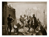 The Surrender of Bamborough Castle, Illustration from 'Hutchinson's Story of British Nation' Giclee Print by M. Mackinlay