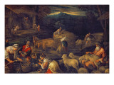 Farm Interior or Shearing Sheep Giclee Print by Jacopo Bassano
