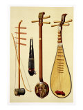 A Huqin and Bow, a Sheng, a Sanxian and a Pipa, Chinese Instruments from 'Musical Instruments' Giclee Print by Alfred James Hipkins