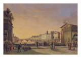 View of the Arno from the Ponte Vecchio, Florence Giclee Print by Guiseppe Gherardi
