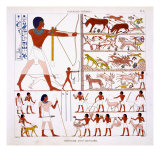 Hunting Scenes, from a Rare Record of Frescoes from Thebes, recorded 1819-1822 Giclee Print by Frederic Cailliaud
