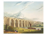 Viaduct across the Sankey Valley, Plate 'Liverpool and Manchester Railway', engraved by Henry Pyall Giclee Print by Thomas Talbot Bury