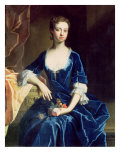 Portrait of a Lady in a Blue Velvet Dress Giclee Print by Charles Jervas