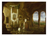 A Monument to Augustus, in a Grotto with Figures Giclee Print by Charles-Cornelisz de Hooch
