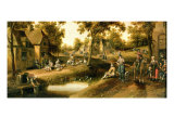 A Village Scene with Peasants on Banks of a Stream Giclee Print by Cornelius Droochsloot