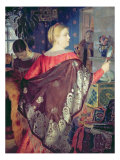 Merchant's Woman with a Mirror Giclee Print by Boris Kustodiyev