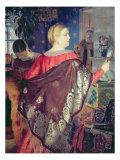 Merchant's Woman with a Mirror Giclee Print by Boris Mikhailovich Kustodiev
